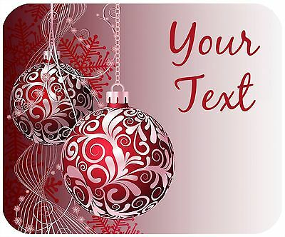 Mouse Pad Custom Thick Mousepad-Red Christmas Ornaments-Any Text Free