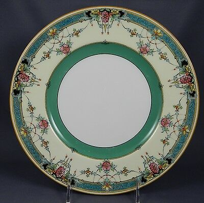 ROYAL WORCESTER DAYTONA TURQUOISE w/ GREEN BAND 2944/1 Dinner Plate