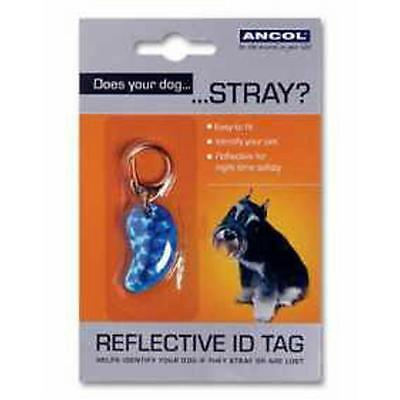 Ancol Dog Puppy Collar Reflective Safety ID Name Tag Bone Shaped
