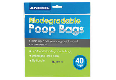 Ancol Dog Puppy Biodegradable Tie Handle Poop Scoop Poo Waste FLAT BAGS 40pcs
