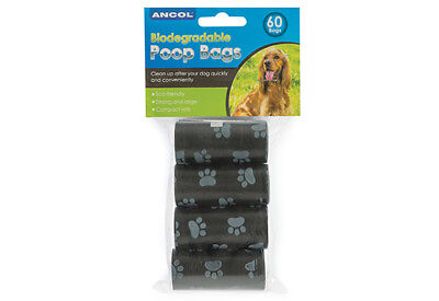 Ancol Dog Puppy Biodegradable Poop Scoop Poo Waste REFILL ROLLS Bags Black 60pcs