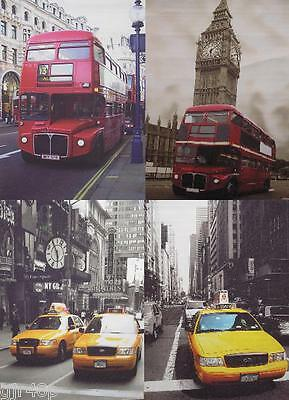 London Bus New York Taxi Canvas Material Roll Up Poster Window Blind 4 Designs
