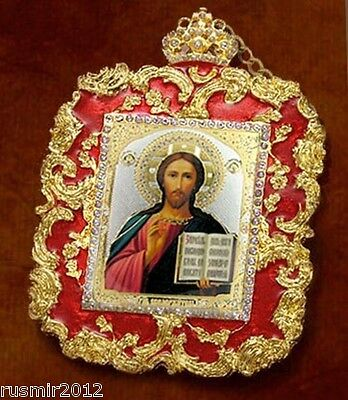 Christ The Teacher Framed Icon Ornament With Crystals & Detachable Chain Bow 4""