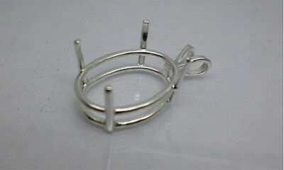 6x4mm - 30x22mm  Oval Pre-Notched Solid Sterling Silver Basket Pendant Mountings