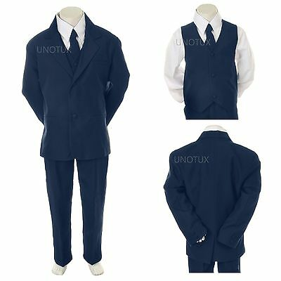 Baby Boy Toddler Formal Wedding Party Easter Tuxedo Suit Navy sz New Born to 4T