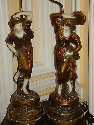 Pair Of Antique/old Vintage Ceramic Figural Dancing Man & Woman Table Lamps