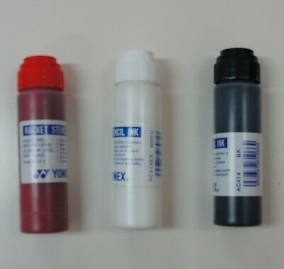 Set of 3 Yonex Racquet String Stencil Ink AC414  Red, Black & White, Made in USA