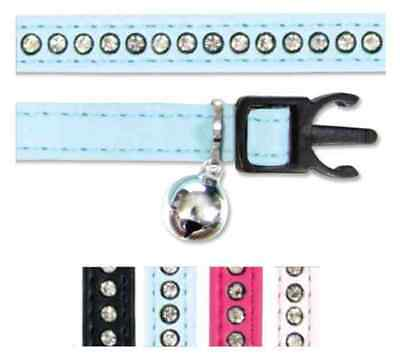 Ancol Cat Kitten Deluxe Blingy Jewelled Collar Safety Clip Bell Pink Black Blue