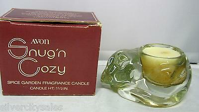 RARE VINTAGE Avon 1980 Snug n Cozy Glass Cat Spice Garden Candle And Holder MIB