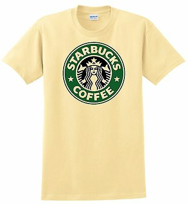 Starbucks Coffee T-shirt. Gray, White, Khaki, Yellow. Size Small - XXL. Cotton
