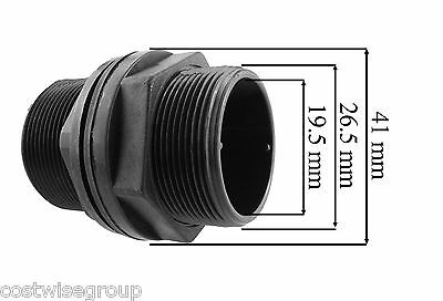 "3/4""BSPM MDPE Water Pipe, hozelock compatible Storage Tank Water butt connector"
