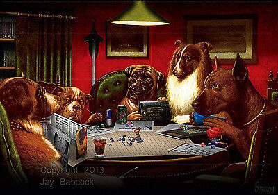 Dogs Playing D&D (3rd edition D&D version) full color poster