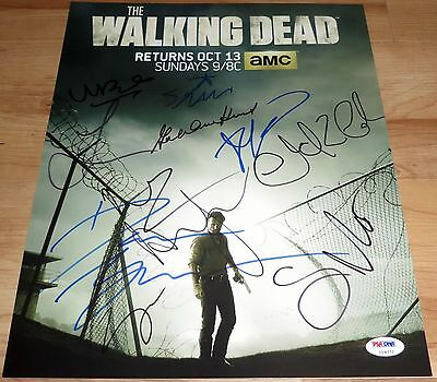 The Walking Dead Cast Signed 11x14 By 11 Lincoln Reedus Yeun Cohan PSA LOA
