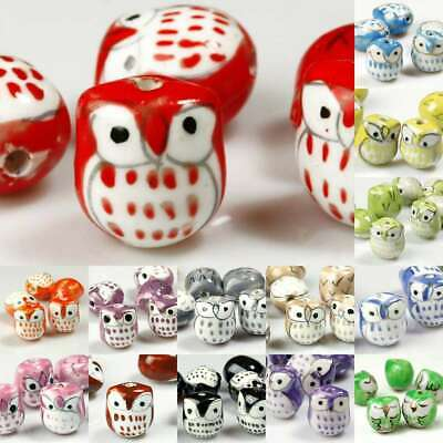 10 Owl Animal Pattern Whimsical Porcelain Bead Center Drilled Handcrafted Nature