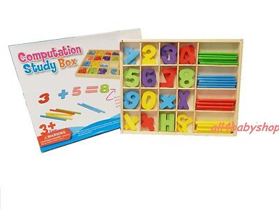Wooden Kids Child Learning Numbers Maths Symbol Counting Sticks Abacus Box