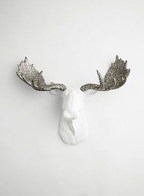 The Theodora- Large White Faux Moose Head With Silver Glitter Antlers Wall Mount