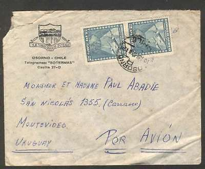 Chile To Uruguay Airmail Cover 1955 w Pair Stamps L@@K
