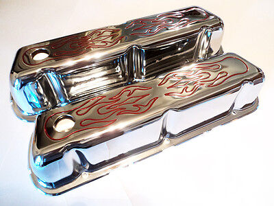 Ford Mercury 289 302 351W Chrome Valve Covers Red Flames Hot Rod Mustang Cougar