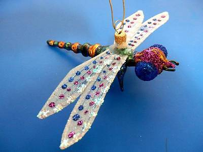 DRAGONFLY PURPLE BLOWN GLASS (body) CHRISTMAS TREE ORNAMENT