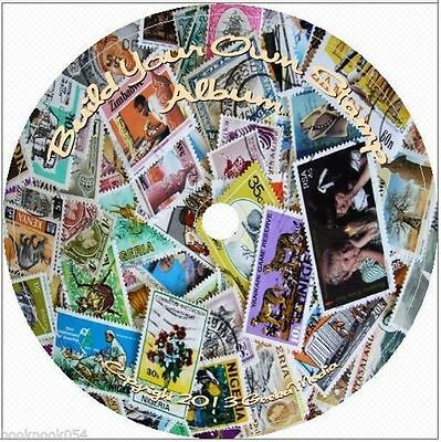 18000 + Printable Stamp Album Pages 37 Countries on DVD Plus 52 Books