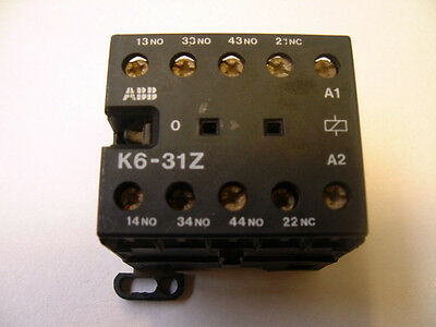 ABB K6-31Z. 24V AC. Mini Contactor Relay. Din Rail or Base Mounting