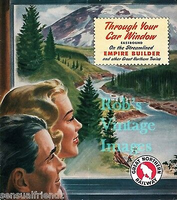 Great Northern Railroad Empire Builder Poster Scenic travel 1950s Train sm