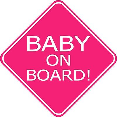 A baby on board sticker, glossy pink, vinyl cut sticker.