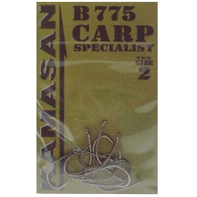 50 Hooks Kamasan B775 Carp Specialist All Sizes Eyed Barbed 5 Packets