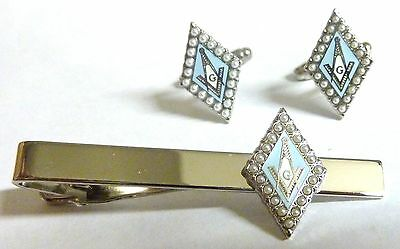 Pearl Square and Compass Masonic Freemason Suit TIE BAR CUFFLINKS SET