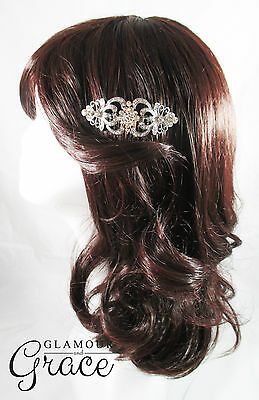 Beatrix vintage wedding bridal comb silver crystal headpiece hair accessory