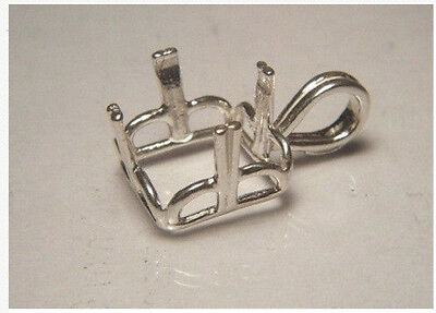 10x10 mm - 14x14mm Square Regalle Pre-Notched Sterling Silver Pendant Settings