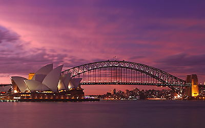 australian photo landscape art print SYDNEY harbour opera house sunset