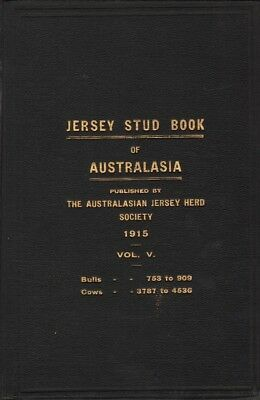 JERSEY STUD BOOK OF AUSTRALASIA VOL.V 1915 1915 1st Ed. HC Book