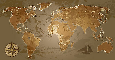 world map atlas globe earth compass art print photo canvas or satin paper
