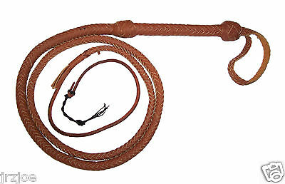 6 foot 16 Plait TAN Indiana Jones Stunt Man Real Leather Bullwhip Bull whips