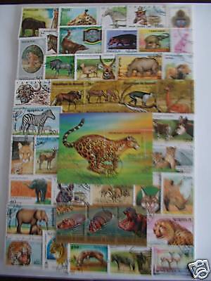 Timbres Animaux D'afrique : 50 Timbres Tous Différents / African Stamps Animals