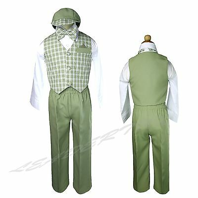 Sage Green Baby Boys Toddler Formal Long Vest Set Suit Ginham Checks S - 4T