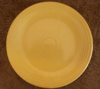 """Yellow Chop Plate Pottery Platter Unmarked 12.5"""" Graduated Rings 3 Kiln Marks"""