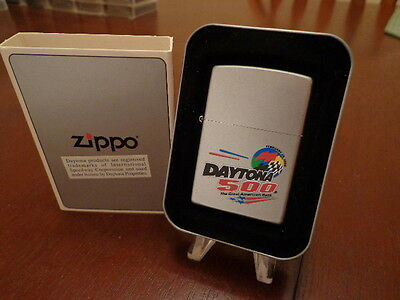 Daytona 500 Nascar Satin Chrome Zippo Lighter Mint In Box 2000