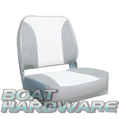 Deluxe Folding Boat Seat Grey/White Padded Quality Oceansouth UV Resistant