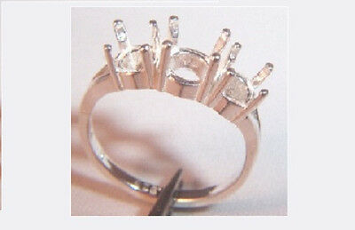 3-stone Classic Pre-Notched Solid Sterling Silver Ring Setting