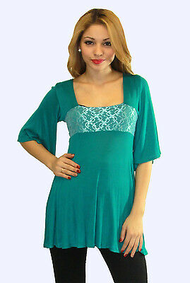 Green Aqua Maternity Top Blouse Batwing Tunic 3/4 Long Sleeve Casual S M L XL