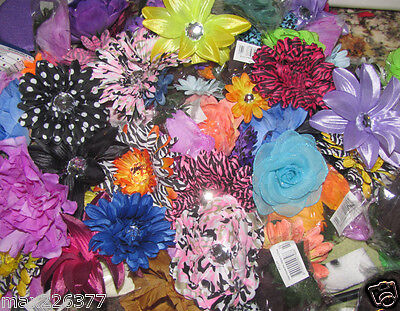 Lot of 20  mixed  flowers on alligator clip for crafts hair tutus gifts favors ❤