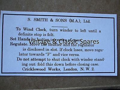 Vintage Smiths MA Dash Car Clock Label Swing Out Bullnose Morris Austin 1920s