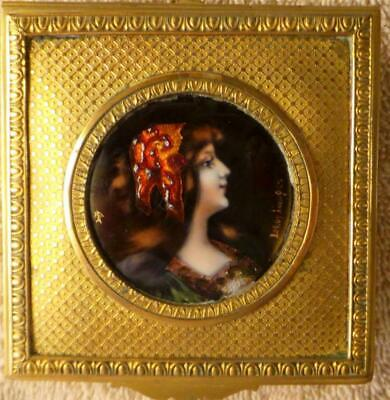 """A """" LeRoy Limoges""""  Signed OiL on Copper  Gilded Bronze Hinged Box"""