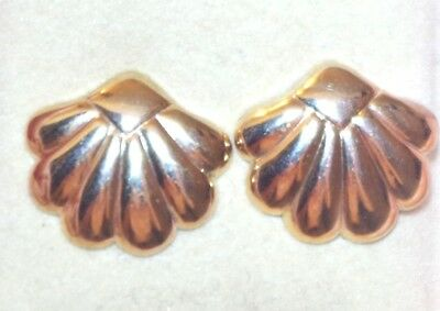 Vintage A & Z 14K Gold Filled Puff Big 16Mm Shell Stud Earrings With 10K Backs A
