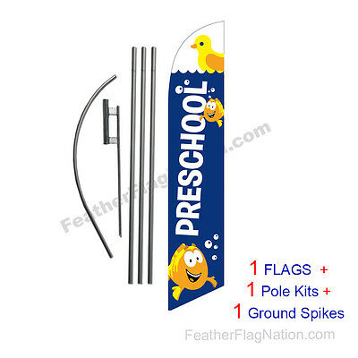 Preschool (blue) 15' Feather Banner Swooper Flag Kit with pole+spike