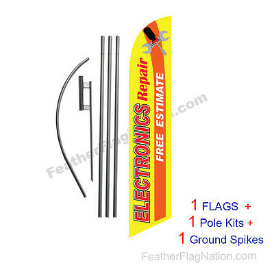 Electronics Repair 15' Feather Banner Swooper Flag Kit with pole+spike