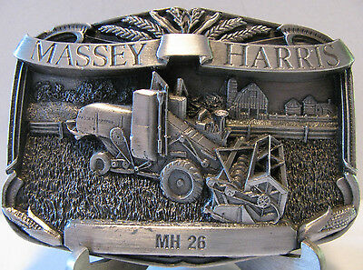 Massey Harris 26 Combine Belt Buckle 1986 Limited Edition #682 mh Pewter 1948-52
