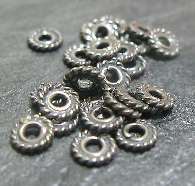 25 Bali 925 Sterling Silver 5Mm Round Twisted Flower Spacer Beads Findings